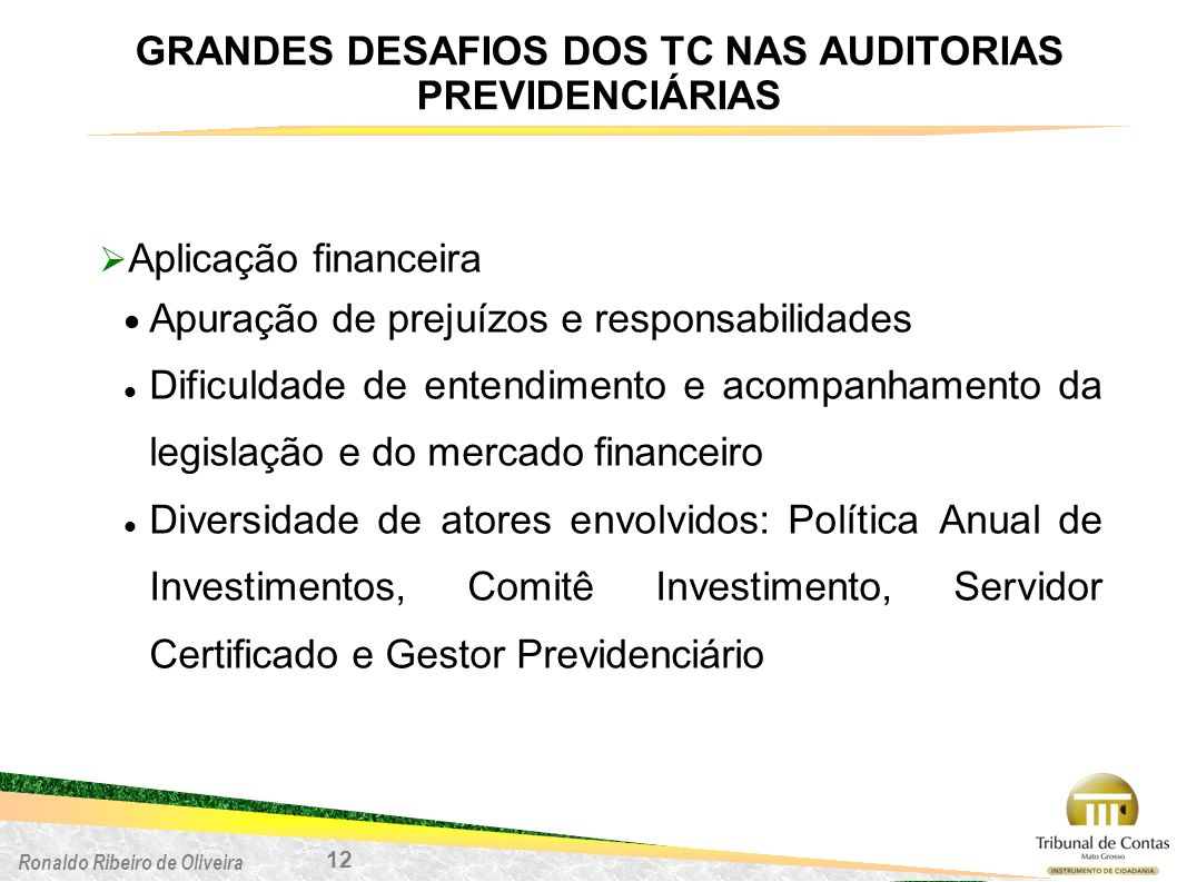 Ronaldo Ribeiro de Oliveira Aplicação financeira Apuração de prejuízos e responsabilidades Dificuldade de entendimento e acompanhamento da legislação