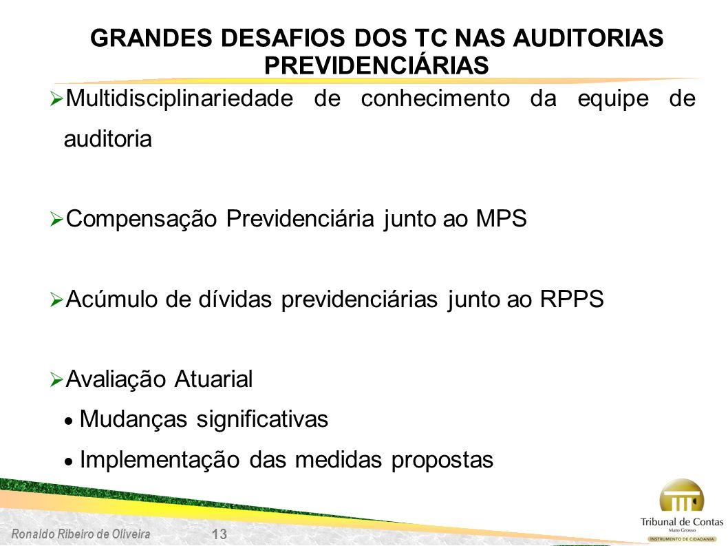 Ronaldo Ribeiro de Oliveira GRANDES DESAFIOS DOS TC NAS AUDITORIAS PREVIDENCIÁRIAS 13 Multidisciplinariedade de conhecimento da equipe de auditoria Co