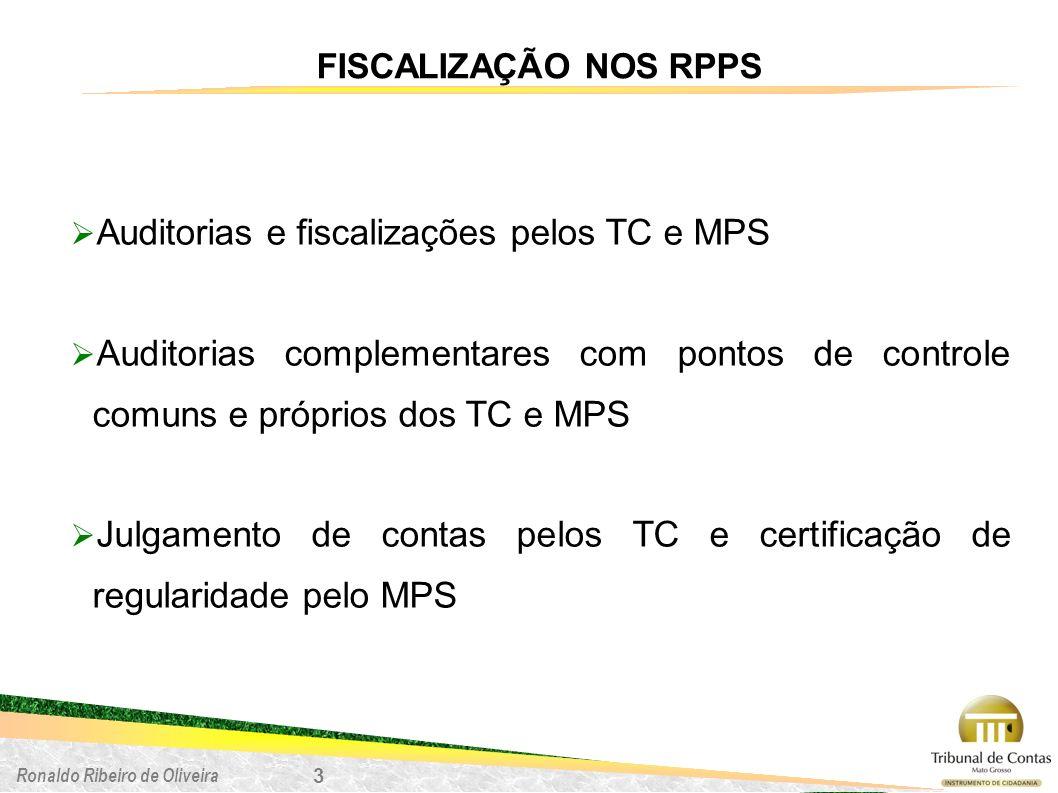 Ronaldo Ribeiro de Oliveira 3 FISCALIZAÇÃO NOS RPPS Auditorias e fiscalizações pelos TC e MPS Auditorias complementares com pontos de controle comuns