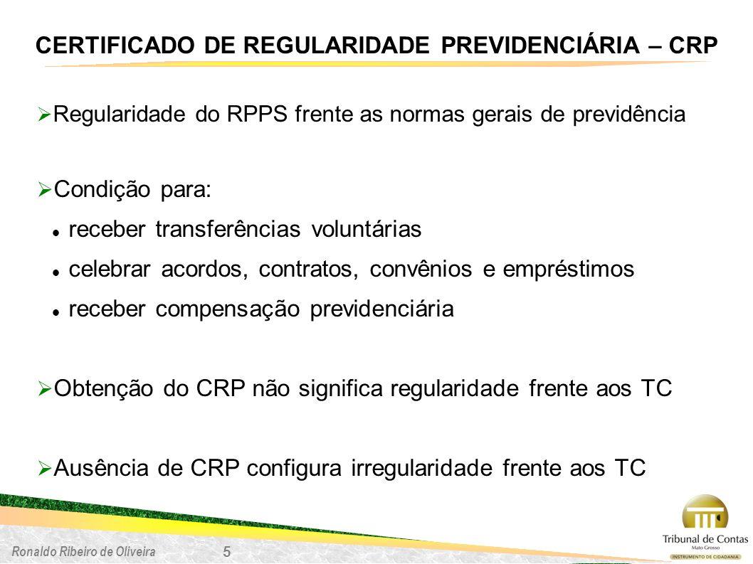 Ronaldo Ribeiro de Oliveira 5 CERTIFICADO DE REGULARIDADE PREVIDENCIÁRIA – CRP Regularidade do RPPS frente as normas gerais de previdência Condição pa
