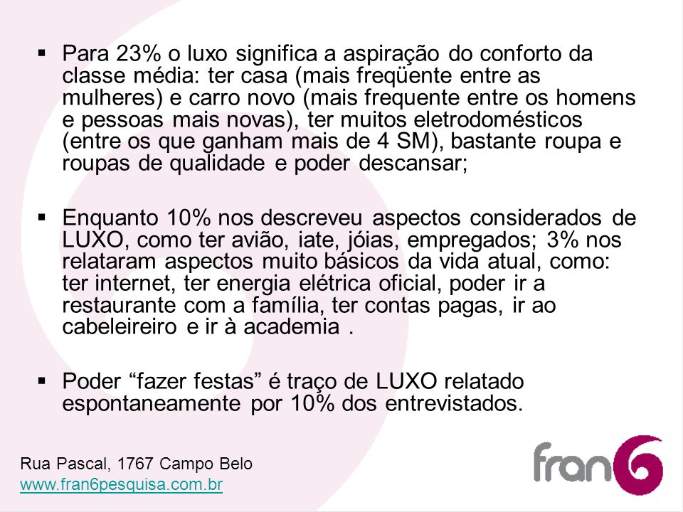 Para 23% o luxo significa a aspiração do conforto da classe média: ter casa (mais freqüente entre as mulheres) e carro novo (mais frequente entre os h