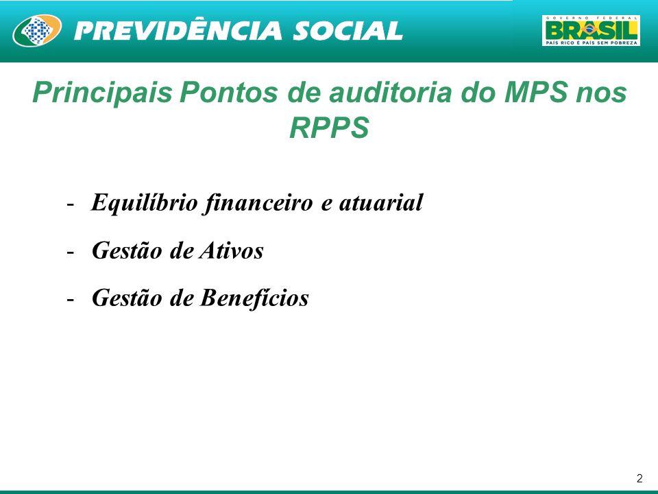 2 Principais Pontos de auditoria do MPS nos RPPS -Equilíbrio financeiro e atuarial -Gestão de Ativos -Gestão de Benefícios