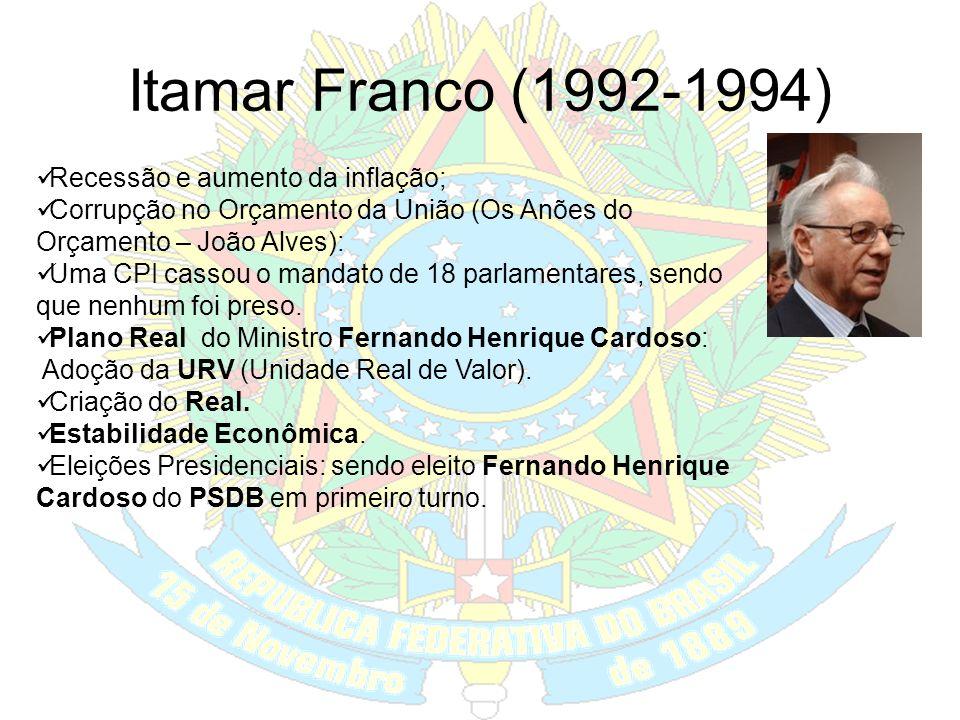 Fernando Collor (1990-1992) Plano Collor ou Brasil Novo da Ministra Zélia Cardoso de Mello: Instituição do Cruzeiro, Congelamento de preços e salários
