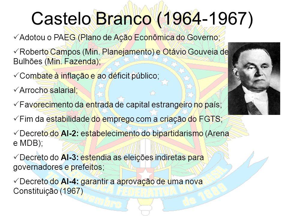 República Militar (1964-1985) O golpe militar (31/03/1964): Combater a corrupção e a subversão (comunismo). A intervenção militar era anunciada como p