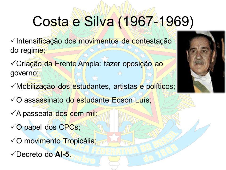 Castelo Branco (1964-1967) Adotou o PAEG (Plano de Ação Econômica do Governo; Roberto Campos (Min. Planejamento) e Otávio Gouveia de Bulhões (Min. Faz