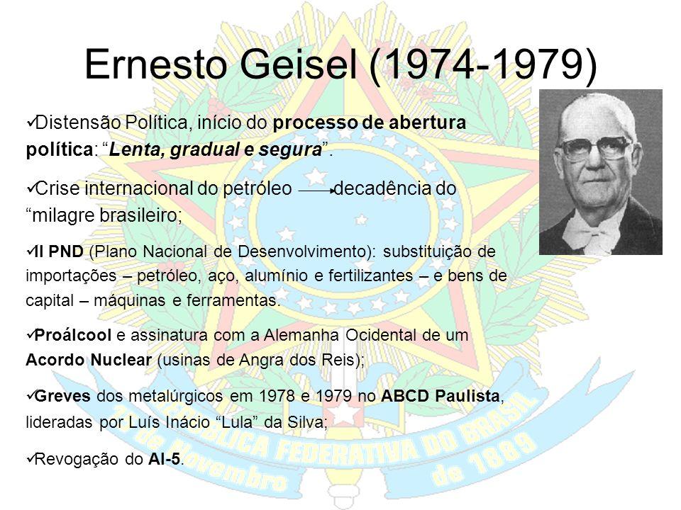 Emílio Garrastazu Médici (1970-1974) Auge da ditadura – Anos de Chumbo; Período de forte repressão e tortura; As guerrilhas: Araguaia (PC do B) e urba