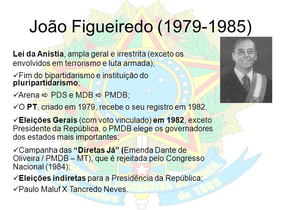 Ernesto Geisel (1974-1979) Distensão Política, início do processo de abertura política: Lenta, gradual e segura. Crise internacional do petróleo decad