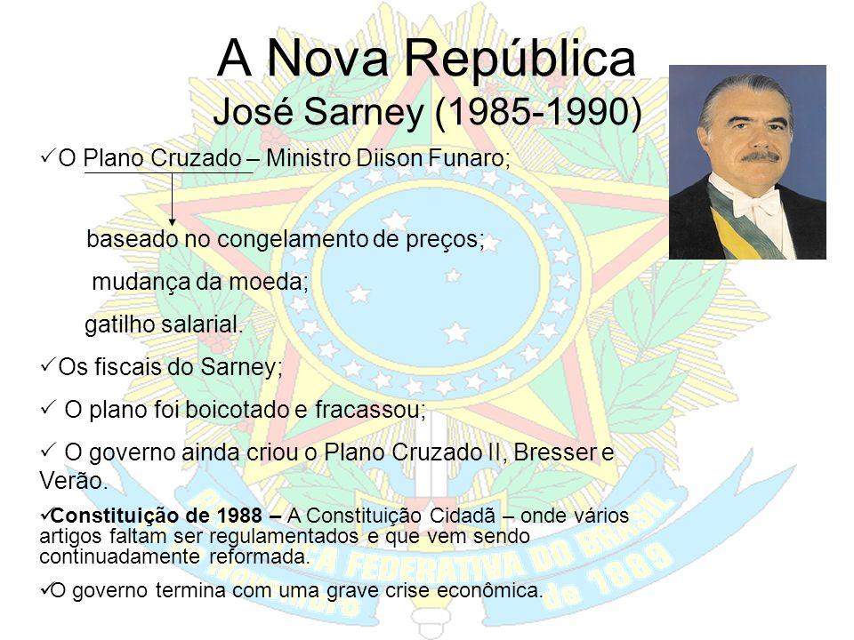 João Figueiredo (1979-1985) Lei da Anistia, ampla geral e irrestrita (exceto os envolvidos em terrorismo e luta armada); Fim do bipartidarismo e insti