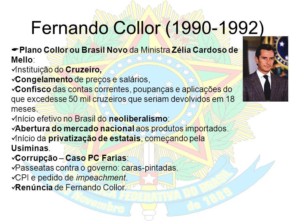 A Nova República José Sarney (1985-1990) O Plano Cruzado – Ministro Diison Funaro; baseado no congelamento de preços; mudança da moeda; gatilho salari