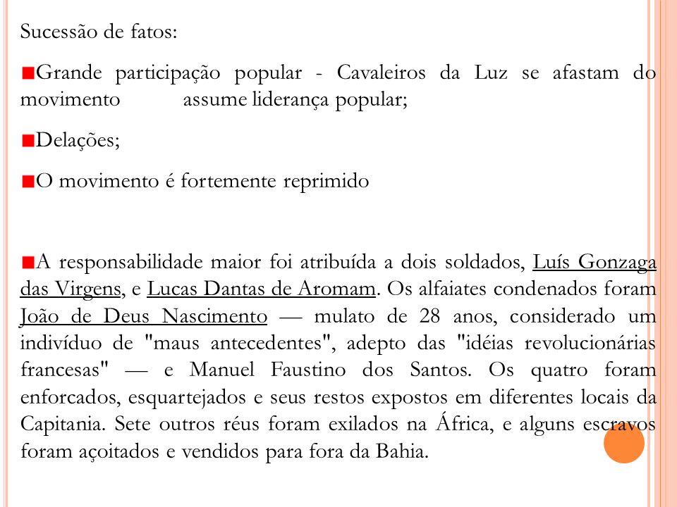 Sucessão de fatos: Grande participação popular - Cavaleiros da Luz se afastam do movimento assume liderança popular; Delações; O movimento é fortement