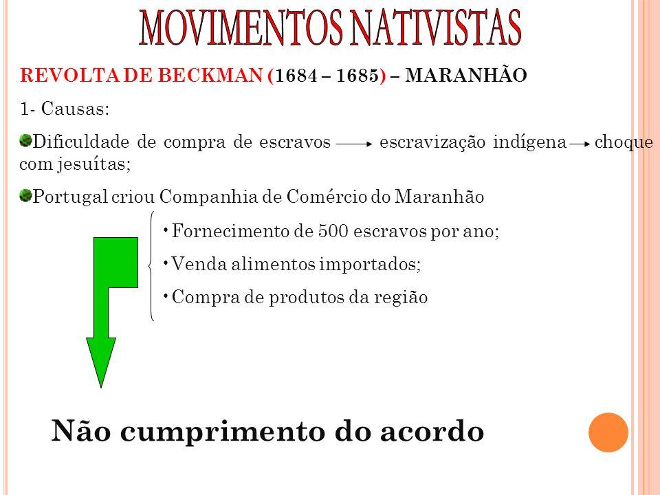 REVOLTA DE BECKMAN (1684 – 1685) – MARANHÃO 1- Causas: Dificuldade de compra de escravos escravização indígena choque com jesuítas; Portugal criou Com