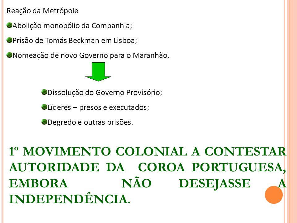 Reação da Metrópole Abolição monopólio da Companhia; Prisão de Tomás Beckman em Lisboa; Nomeação de novo Governo para o Maranhão. Dissolução do Govern