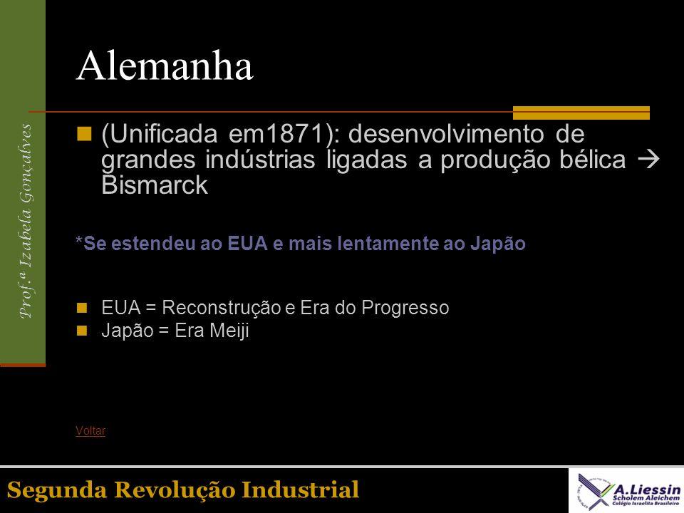 Prof.ª Izabela Gonçalves Segunda Revolução Industrial Alemanha (Unificada em1871): desenvolvimento de grandes indústrias ligadas a produção bélica Bis