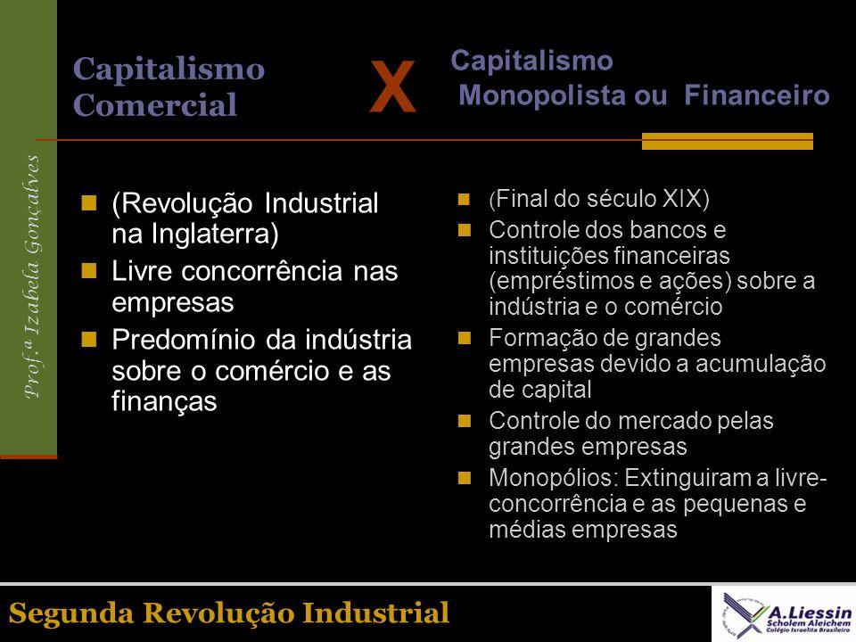 Prof.ª Izabela Gonçalves Segunda Revolução Industrial Capitalismo Comercial (Revolução Industrial na Inglaterra) Livre concorrência nas empresas Predo
