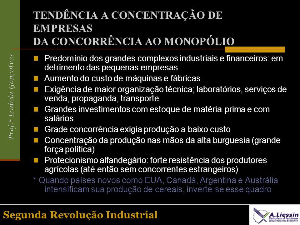 Prof.ª Izabela Gonçalves Segunda Revolução Industrial TENDÊNCIA A CONCENTRAÇÃO DE EMPRESAS DA CONCORRÊNCIA AO MONOPÓLIO Predomínio dos grandes complex