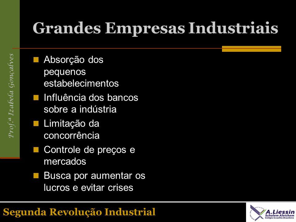 Prof.ª Izabela Gonçalves Segunda Revolução Industrial Grandes Empresas Industriais Absorção dos pequenos estabelecimentos Influência dos bancos sobre