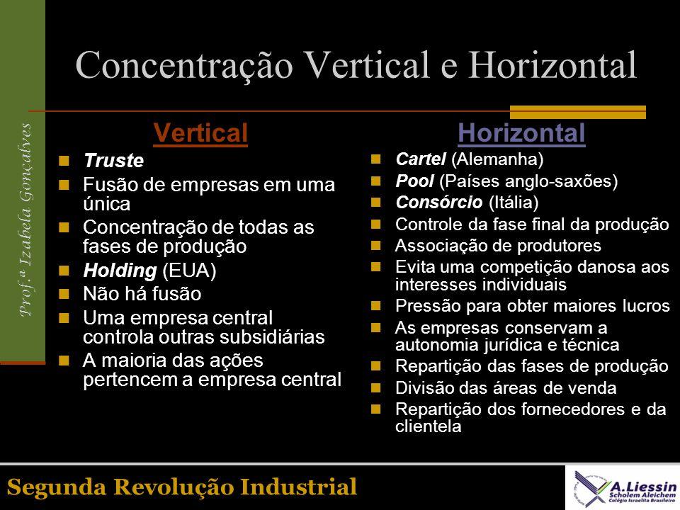Prof.ª Izabela Gonçalves Segunda Revolução Industrial Concentração Vertical e Horizontal Vertical Truste Fusão de empresas em uma única Concentração d