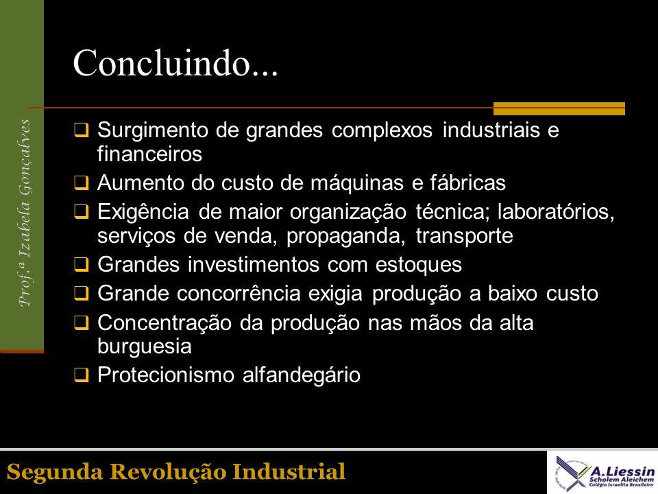Prof.ª Izabela Gonçalves Concluindo... Surgimento de grandes complexos industriais e financeiros Aumento do custo de máquinas e fábricas Exigência de
