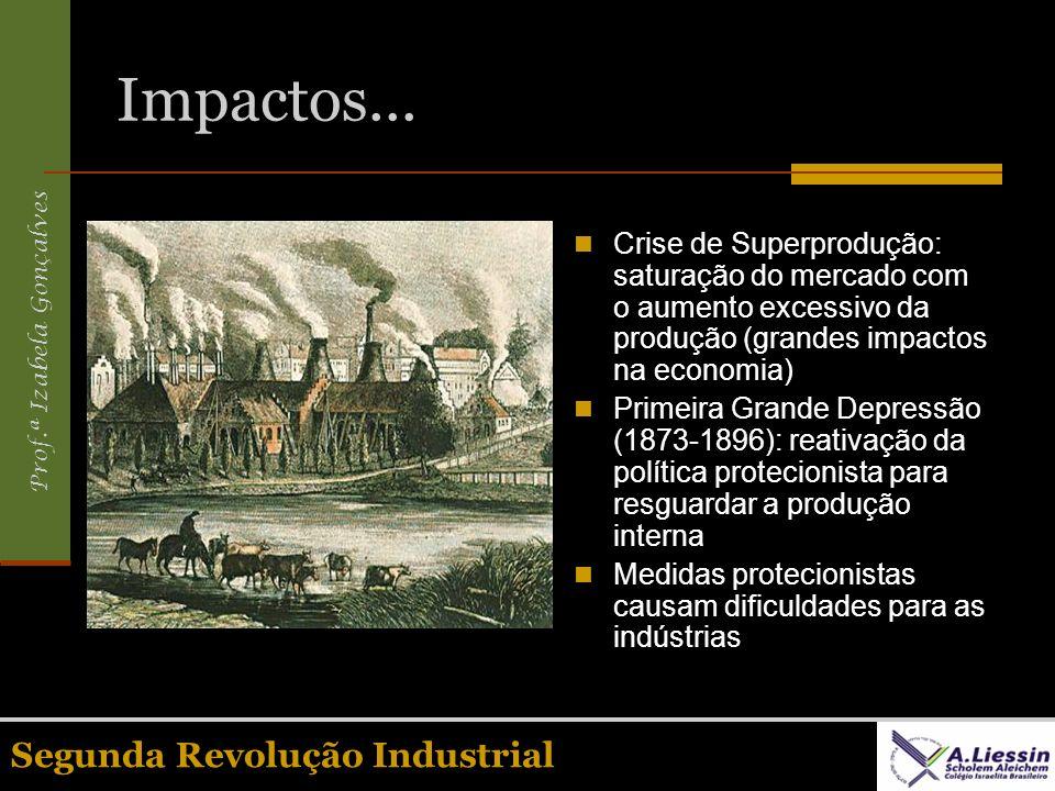 Prof.ª Izabela Gonçalves Segunda Revolução Industrial Impactos... Crise de Superprodução: saturação do mercado com o aumento excessivo da produção (gr