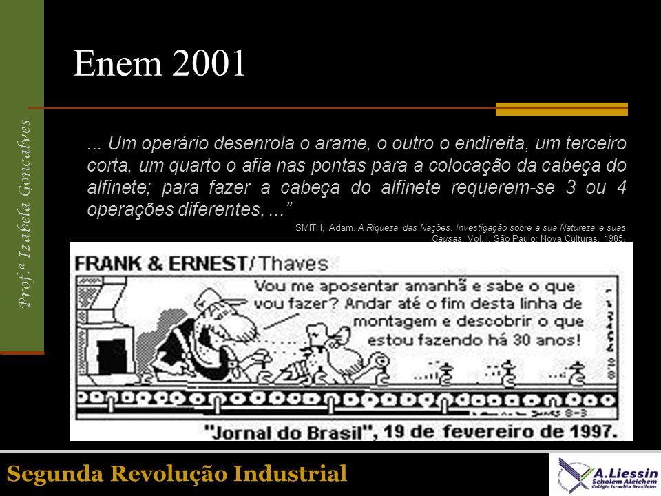 Prof.ª Izabela Gonçalves Segunda Revolução Industrial Enem 2001... Um operário desenrola o arame, o outro o endireita, um terceiro corta, um quarto o