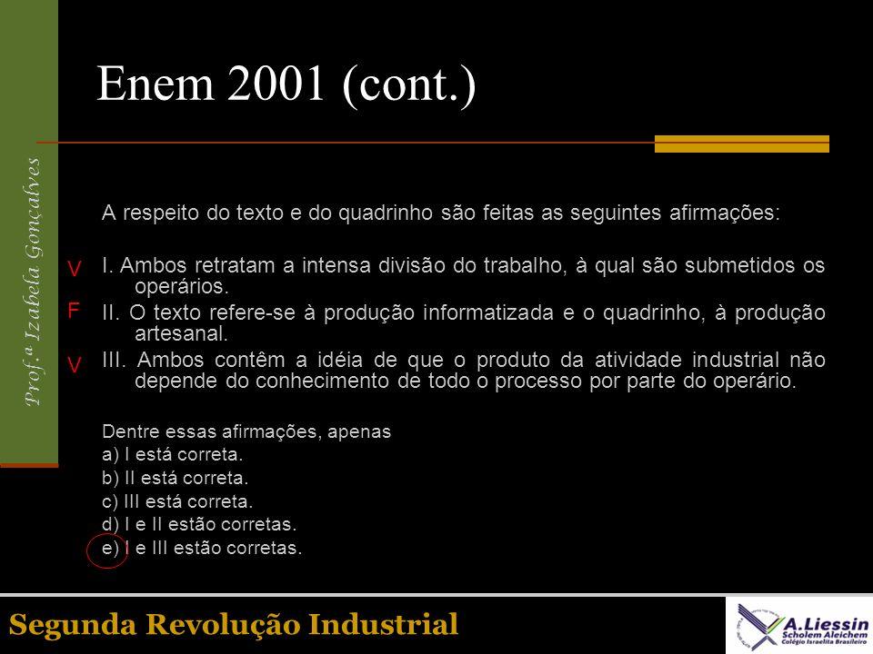 Prof.ª Izabela Gonçalves Segunda Revolução Industrial Enem 2001 (cont.) A respeito do texto e do quadrinho são feitas as seguintes afirmações: I. Ambo