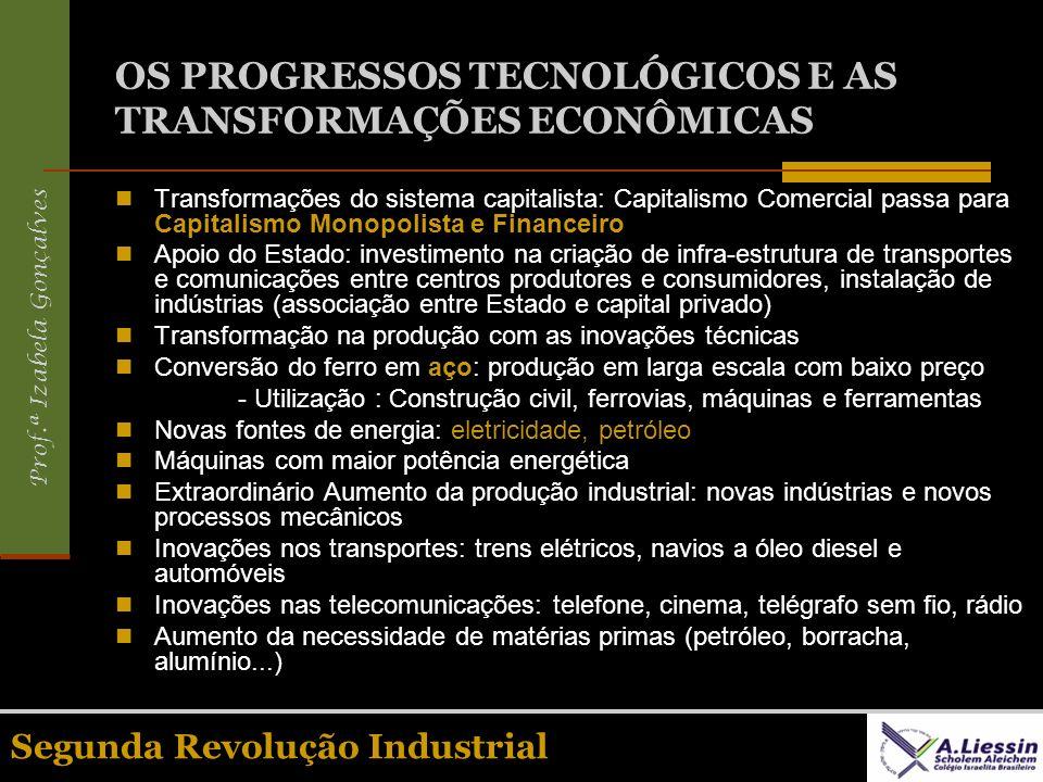 Prof.ª Izabela Gonçalves Segunda Revolução Industrial OS PROGRESSOS TECNOLÓGICOS E AS TRANSFORMAÇÕES ECONÔMICAS Transformações do sistema capitalista: