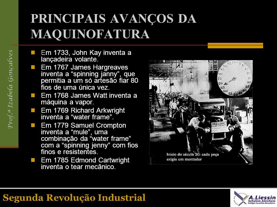 Prof.ª Izabela Gonçalves Segunda Revolução Industrial PRINCIPAIS AVANÇOS DA MAQUINOFATURA Em 1733, John Kay inventa a lançadeira volante. Em 1767 Jame