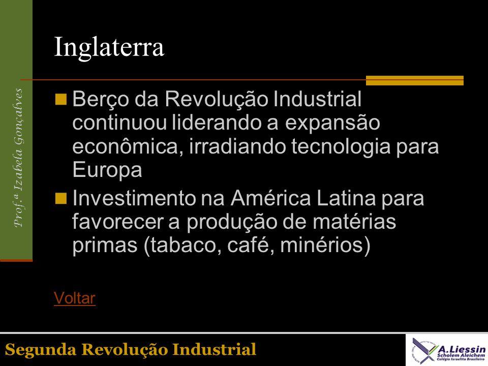 Prof.ª Izabela Gonçalves Segunda Revolução Industrial Inglaterra Berço da Revolução Industrial continuou liderando a expansão econômica, irradiando te