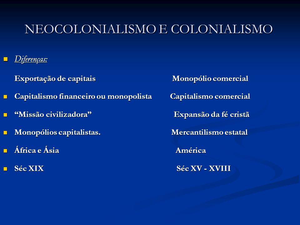 NEOCOLONIALISMO E COLONIALISMO NEOCOLONIALISMO E COLONIALISMO Diferenças: Diferenças: Exportação de capitais Monopólio comercial Exportação de capitai