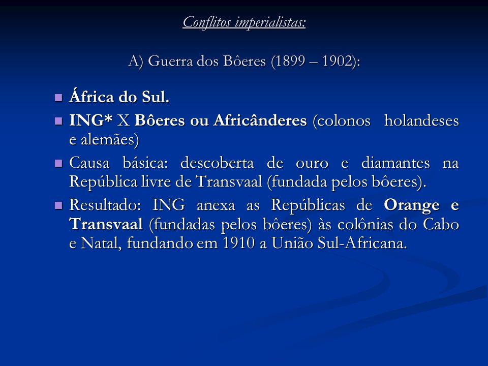 Conflitos imperialistas: A) Guerra dos Bôeres (1899 – 1902): África do Sul. África do Sul. ING* X Bôeres ou Africânderes (colonos holandeses e alemães