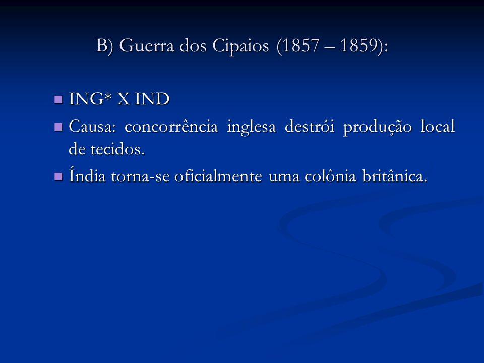 C) Guerra do Ópio (1841 – 1842): ING* X CHI ING* X CHI Causas: Causas: CHI tenta proibir o consumo de ópio no país.