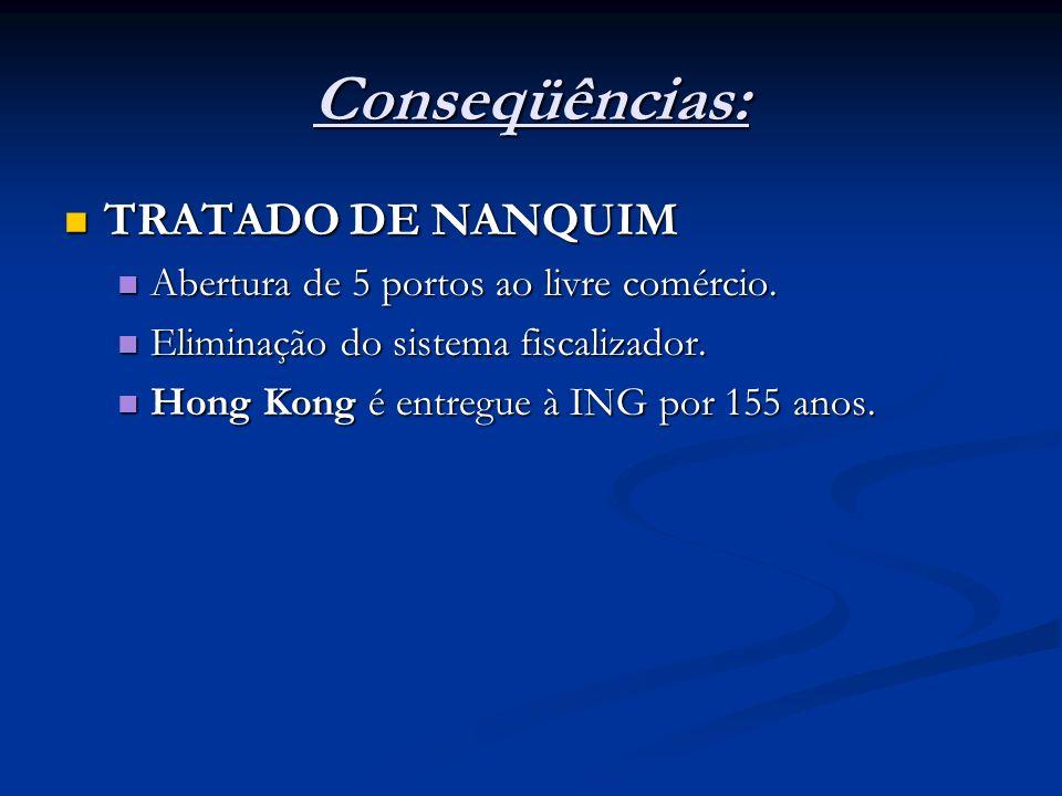 D) Revolta dos Taiping (1851 – 1864): Nacionalistas chineses X potências estrangeiras (ING + FRA + EUA + RUS)* Nacionalistas chineses X potências estrangeiras (ING + FRA + EUA + RUS)* Conseqüência: ampliação da dominação estrangeira sobre a China com a abertura de mais portos ao livre comércio.