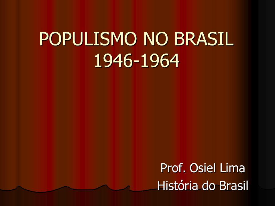 A República Populista (1946-1964) Após a Segunda Guerra Mundial o governo Vargas não se sustenta.