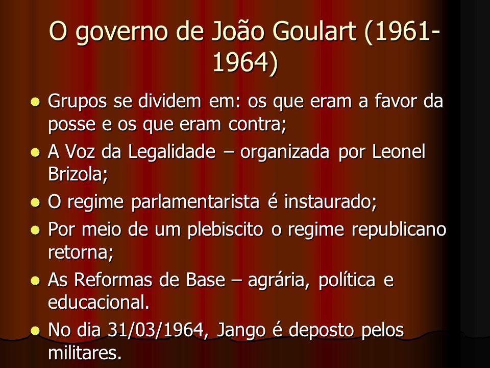 O governo de João Goulart (1961- 1964) Grupos se dividem em: os que eram a favor da posse e os que eram contra; Grupos se dividem em: os que eram a fa