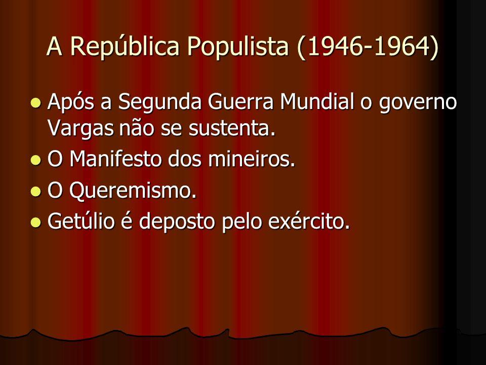 A República Populista (1946-1964) Após a Segunda Guerra Mundial o governo Vargas não se sustenta. Após a Segunda Guerra Mundial o governo Vargas não s