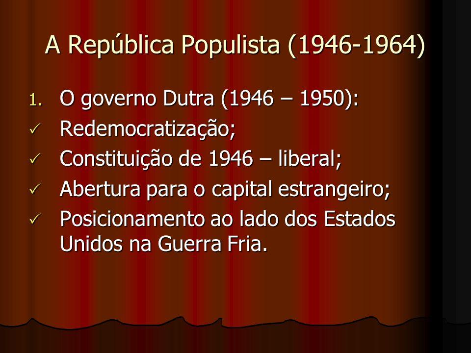 O governo dos militares (1964 – 1985) Principais Características Fim da normalidade democrática; Fim da normalidade democrática; Fim da liberdade de imprensa e expressão; Fim da liberdade de imprensa e expressão; Governos ditadores e autoritários; Governos ditadores e autoritários; Violenta repressão (tortura); Violenta repressão (tortura); O Ato Institucional nº 5 (AI-5); O Ato Institucional nº 5 (AI-5); Fechamento do Congresso, direitos políticos e civis suspensos, exílio e cassação de políticos, artistas e intelectuais.