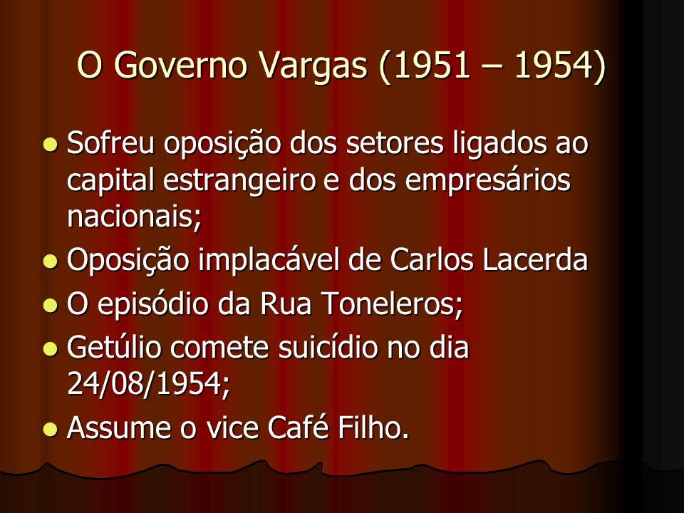 O Governo Vargas (1951 – 1954) Sofreu oposição dos setores ligados ao capital estrangeiro e dos empresários nacionais; Sofreu oposição dos setores lig