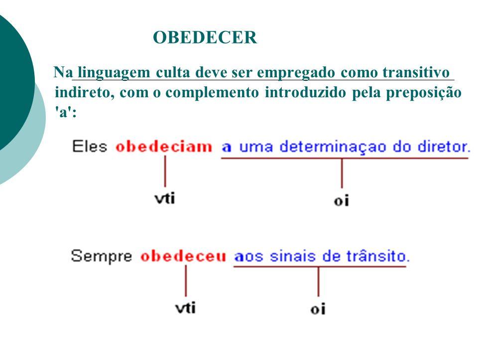 OBEDECER Na linguagem culta deve ser empregado como transitivo indireto, com o complemento introduzido pela preposição 'a':