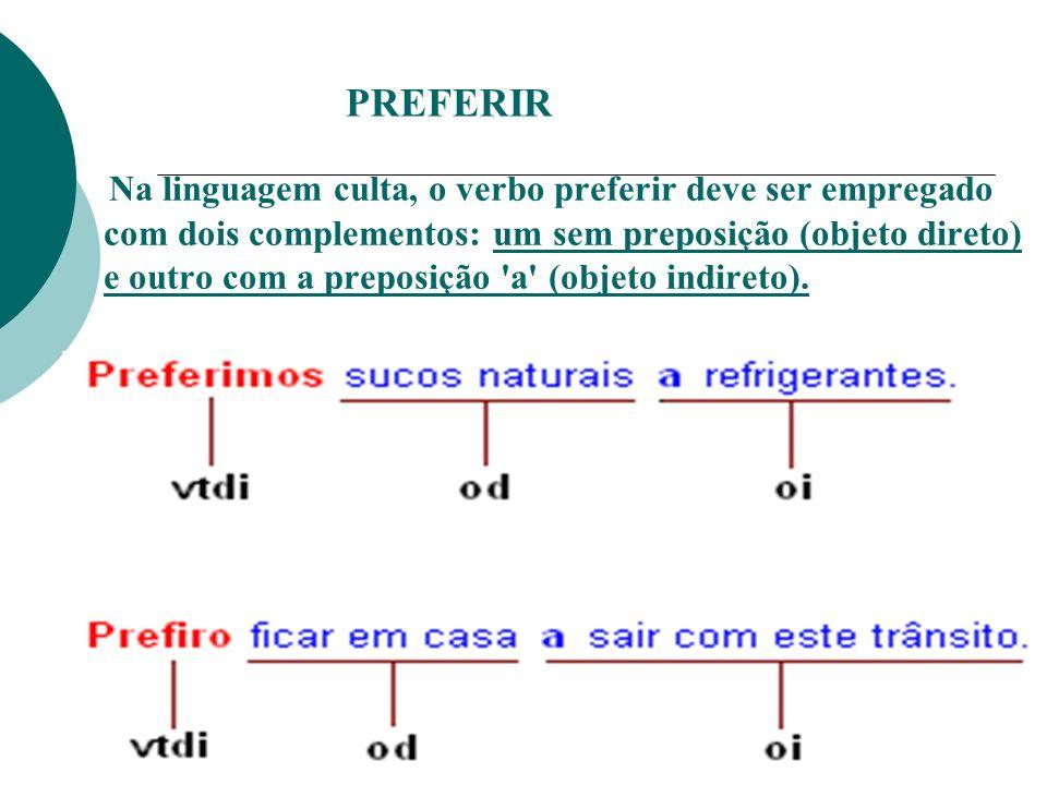 PREFERIR N a linguagem culta, o verbo preferir deve ser empregado com dois complementos: um sem preposição (objeto direto) e outro com a preposição 'a
