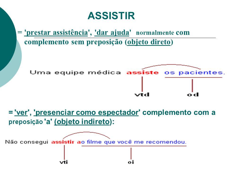 ASSISTIR = 'prestar assistência', 'dar ajuda' normalmente com complemento sem preposição (objeto direto) = 'ver', 'presenciar como espectador' complem