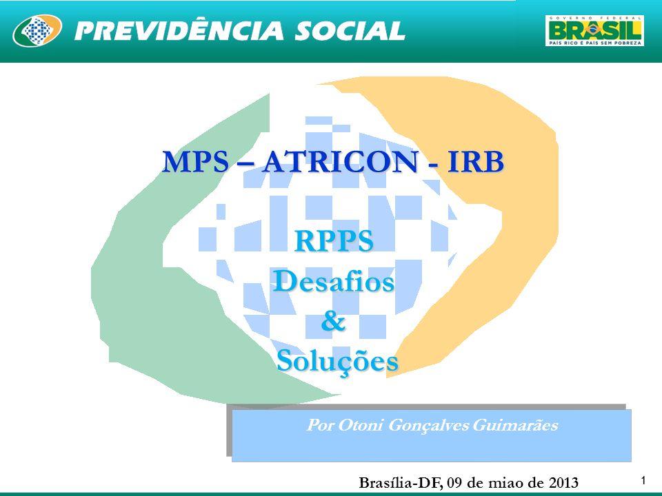 11 Por Otoni Gonçalves Guimarães Brasília-DF, 09 de miao de 2013 MPS – ATRICON - IRB RPPSDesafios& Soluções Soluções