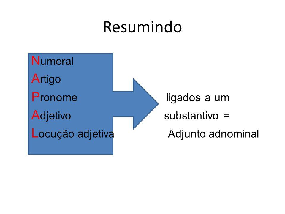 Resumindo N umeral A rtigo P ronome ligados a um A djetivo substantivo = L ocução adjetiva Adjunto adnominal