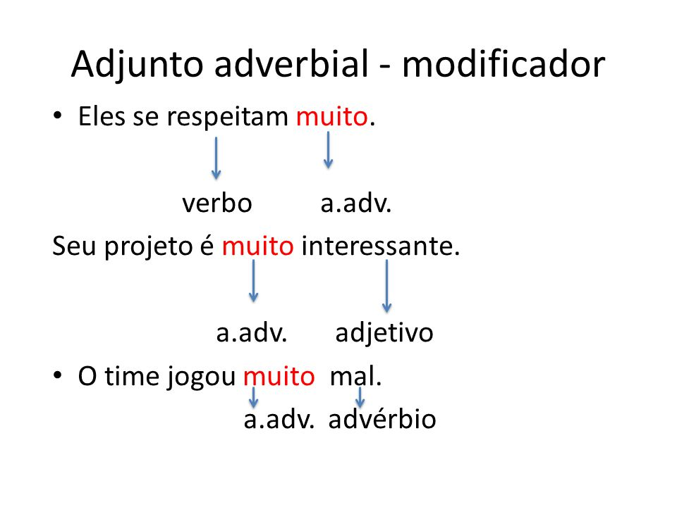 Adjunto adverbial - modificador Eles se respeitam muito.