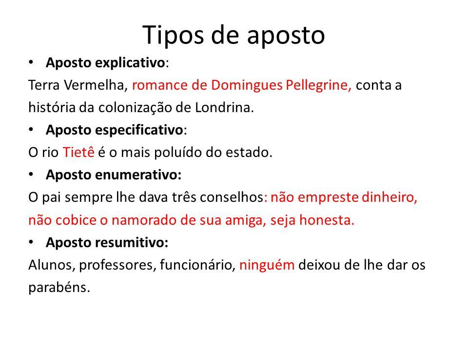 Tipos de aposto Aposto explicativo: Terra Vermelha, romance de Domingues Pellegrine, conta a história da colonização de Londrina.