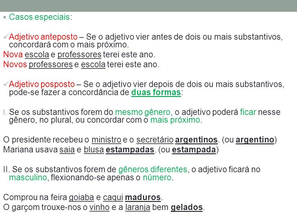 Casos especiais: Adjetivo anteposto – Se o adjetivo vier antes de dois ou mais substantivos, concordará com o mais próximo. Nova escola e professores