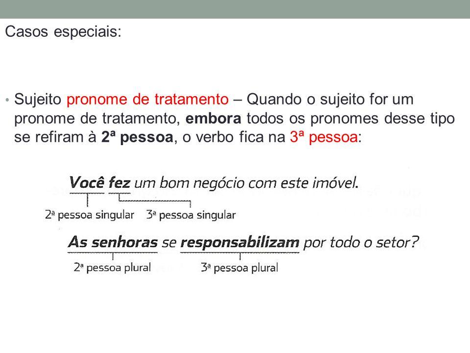Casos especiais: Sujeito pronome de tratamento – Quando o sujeito for um pronome de tratamento, embora todos os pronomes desse tipo se refiram à 2ª pe