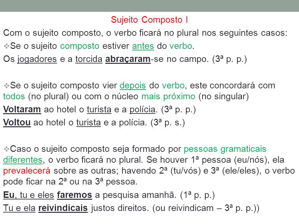 Sujeito Composto I Com o sujeito composto, o verbo ficará no plural nos seguintes casos: Se o sujeito composto estiver antes do verbo. Os jogadores e
