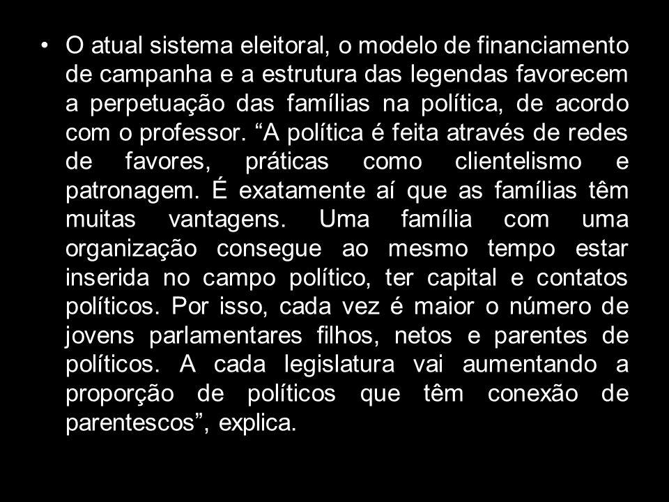 Há uma oligarquização da política. A política cada vez mais passa a ser um negócio de família no Brasil. Passa, muitas vezes, de pai para filho. As el