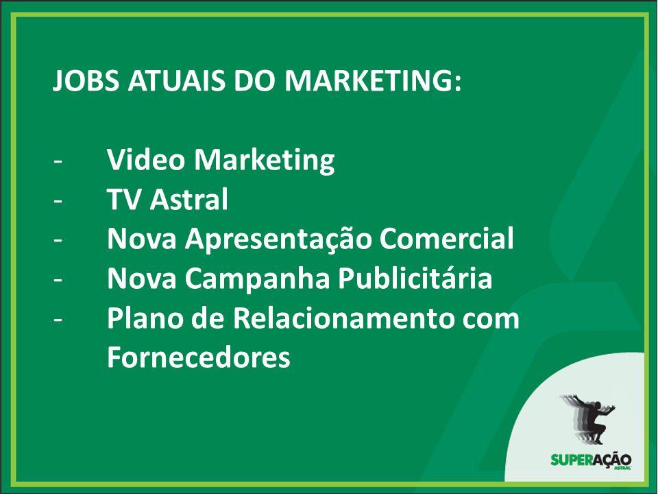 JOBS ATUAIS DO MARKETING: -Video Marketing -TV Astral -Nova Apresentação Comercial -Nova Campanha Publicitária -Plano de Relacionamento com Fornecedores