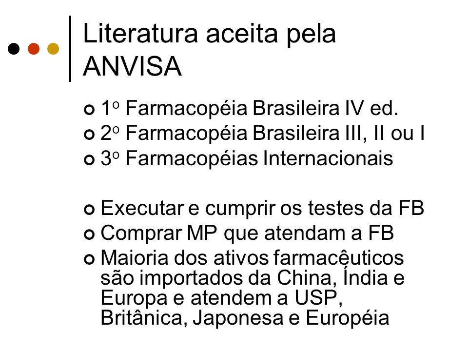Literatura aceita pela ANVISA 1 o Farmacopéia Brasileira IV ed. 2 o Farmacopéia Brasileira III, II ou I 3 o Farmacopéias Internacionais Executar e cum